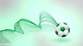 Abstract background with green soccer ball. Vector illustration royalty free illustration