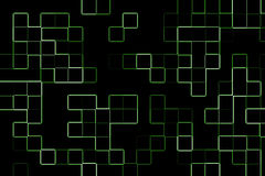 Abstract background. With green squares on black background Royalty Free Stock Photo