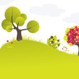 Abstract background with green tree and flowers. Vector illustration stock illustration