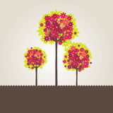 Abstract background with green tree and flowers. Vector illustration royalty free illustration