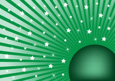 Abstract Background Green with White Stars. Green sunburst background with various white stars giving a celebration feel to the design. Small space to add copy Vector Illustration