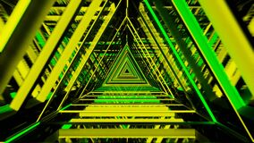 Abstract background with green and yellow neon triangles, seamless loop 3d animation video 4k