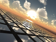 Abstract Background Grid Horizon. An abstract illustration background of a bright  sunset with fluffy clouds over a cube array tech like grid horizon Stock Images