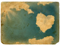 Abstract background, grunge and retro styling. The sky and cloud in the shape of the heart. Abstract background, grunge and retro styling royalty free illustration