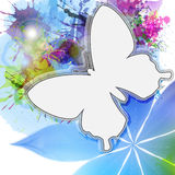 Abstract background in grunge style with white butterfly silhoue Royalty Free Stock Images