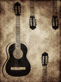 Abstract background with a guitar. In the grunge style stock illustration
