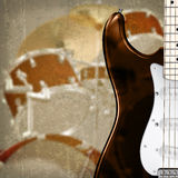 Abstract background with guitar and drum kit. Abstract grunge background with electric guitar and drum kit royalty free illustration
