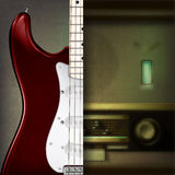 Abstract background with guitar and retro radio. Abstract grunge background with retro radio and electric guitar Royalty Free Stock Photo