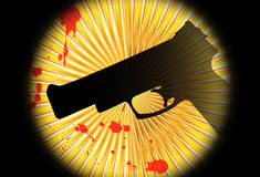 Abstract background with gun. Silhouette of a gun with blood stains Royalty Free Stock Images