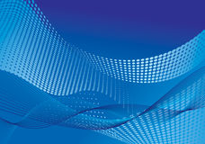 Abstract background with halftone effect. Blue abstract gradient background with halftone effect and waves vector illustration