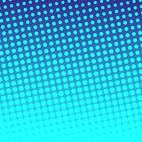 Abstract background with halftone effect. Circles in bright blue color on dark  blurred background Royalty Free Stock Photography
