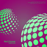 Abstract background of the halftone spheres in green color. On compliment color background and with example of text, created for business advertising Stock Image