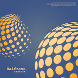 Abstract background of the halftone spheres in orange color. On complement color background and with example of text, created for business advertising stock illustration