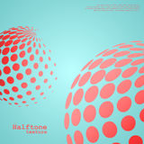 Abstract background of the halftone spheres in red color. On compliment color background and with example of text, created for business advertising vector illustration