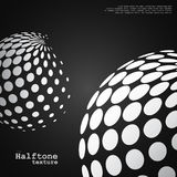 Abstract background of the halftone spheres in white color. On black color background and with example of text, created for business advertising, presentation stock illustration