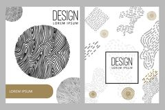 Abstract background with hand drawn design elements. Design element for poster, card, banner. Vector illustration Stock Photos