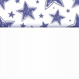 Abstract background with hand drawn stars. On squared paper. Vector illustration Royalty Free Stock Image