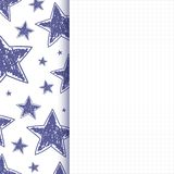 Abstract background with hand drawn stars. On squared paper. Vector illustration stock illustration