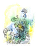 Abstract background with handwritten painted fish, underwater wo. Rld and ornaments in the style of pointillism stock illustration