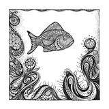 Abstract background with handwritten painted fish. Abstract background with handwritten painted fish, underwater world and ornaments in the style of pointillism Stock Image