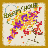 Abstract background happy hour written inside, vector illustration Royalty Free Stock Photo