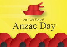 Abstract background with hat and flower for Anzac Day on 25 Apri. L. Paper craft design with copy space vector illustration