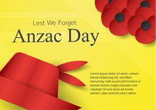 Abstract background with hat and flower for Anzac Day on 25 Apri. L. Paper craft design with copy space royalty free illustration