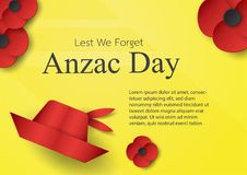 Abstract background with hat and flower for Anzac Day on 25 Apri. L. Paper craft design with copy space stock illustration