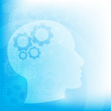 Abstract background with Head and brain gears,  Stock Photography