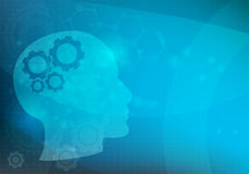 Abstract background with Head and brain gears,  Royalty Free Stock Images
