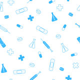 Abstract background health medicine tablet patch syringe seamless pattern blue. Vector Royalty Free Stock Image