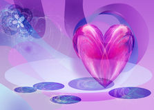 Abstract Background with a heart and flower. Blue and Purple Abstract Background with a heart and flower Stock Photo