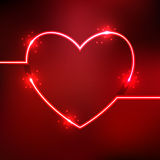 Abstract background with heart shape neon lines. Vector illustration of red abstract background with blurred magic heart shape neon light lines Stock Illustration