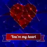 Background with heart and triangle polygons. Royalty Free Stock Photos