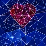 Background with heart and triangle polygons. Stock Images