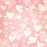 Abstract background with hearts and bokeh lights. Abstract romantic pink background with hearts and bokeh lights. St. Valentine`s day wallpaper. Blurred glow Stock Photography