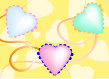 Abstract background with hearts. Bright yellow abstract background with hearts and ribbons royalty free illustration