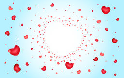 Abstract background of hearts on light blue Royalty Free Stock Image