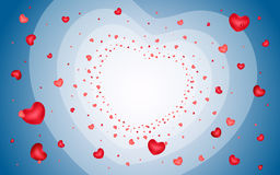 Abstract background of hearts on light blue Royalty Free Stock Photo