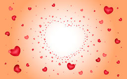 Abstract background of hearts on light red Stock Images