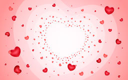 Abstract background of hearts on light red Royalty Free Stock Images