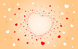 Abstract background of hearts on light red Royalty Free Stock Image