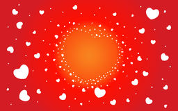 Abstract background of hearts on red. Abstract background of hearts. Shape the heart. Valentines day. Love vector illustration