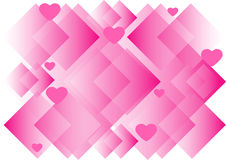 Abstract background with hearts and squares. Abstract pink background with hearts and squares stock illustration
