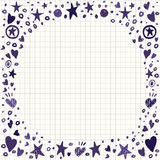 Abstract Background with Hearts and Stars Shapes. Abstract Vector Background with Hearts and Stars Shapes. Hand Drawin scribble illustration Stock Photo