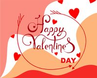 Abstract background with hearts and stylized arrows on Valentine`s Day. Vector. Illustration stock illustration