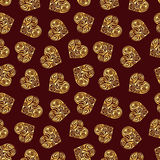 Abstract background with hearts. Vector seamless pattern. Abstract background with golden hearts. Vector seamless pattern vector illustration