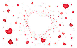 Abstract background of hearts on white Stock Photo