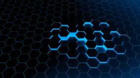 Abstract background hexagon blue. Of futuristic surface with light rays and shadows Royalty Free Stock Photos