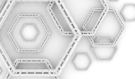 Abstract Background With Hexagon Frames. 3D Rendering Of Abstract Background With Hexagon Frames vector illustration